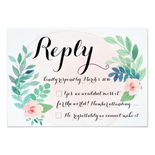 Blush Watercolor Floral Wedding Reply Card| Beautiful wedding invitations! Shop the hundreds of wedding and bridal shower invitation designs on Zazzle, where you can completely customize them! Unique designs made for the unique bride - boho, bohemian, whimsical, rustic, vintage, romantic, fun, lingerie shower, unique, colorful, pastel, custom, glitter, pink, floral, watercolor, tea party, brunch and bubbly, modern, classic, chic - the possibilities are endless!