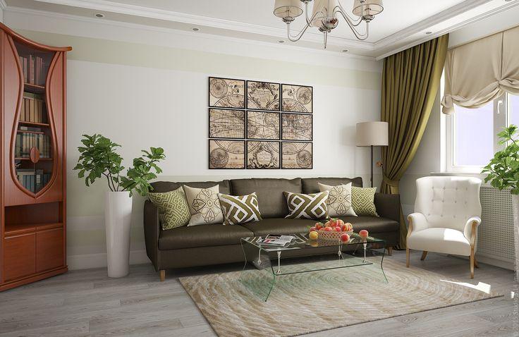 Оливковый цвет текстиля в оформлении гостиной: диван, портьеры и настенный декор в виде географической карты.