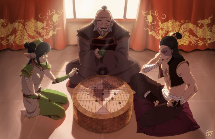 Pai Sho -- poor zuko has a ton of scars. and also, idk about toph playing since she's blind :P