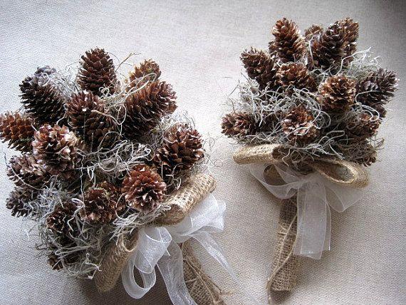 Winter rustic pine cone wedding set bridal by FlowerDecoupage