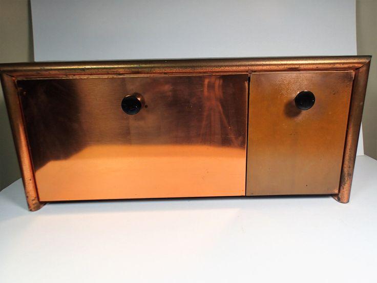 emco copper mid century modern kitchen storage bins vintage metal storage bin by on etsy