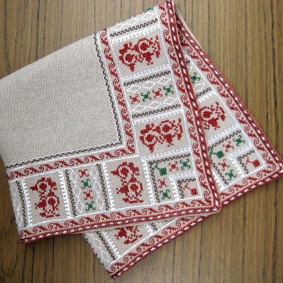 VTG Linen Ethnic Tablecloth Embroidery Cross stitched by DILMA