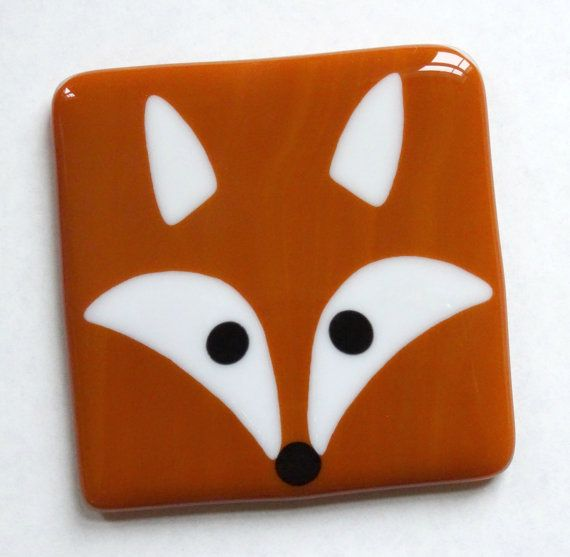 Fox fused glass coaster mat foxy by NaomisStainedGlass on Etsy