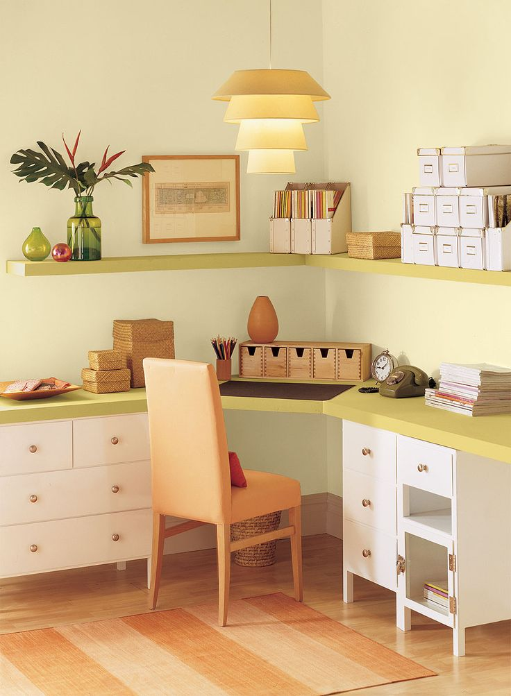 Benjamin Moore Paint Colors - Yellow Home Office Ideas - Fresh & Airy Yellow Home Office - Paint Color Schemes . . . . . Lush Marblehead Gold (HC-11) adds richness and depth to this small home office. . . . . . Walls - Pale Celery (2150-60); Shelves - Marblehead Gold (HC-11); Accent (desk base) - Simply White (OC-117).