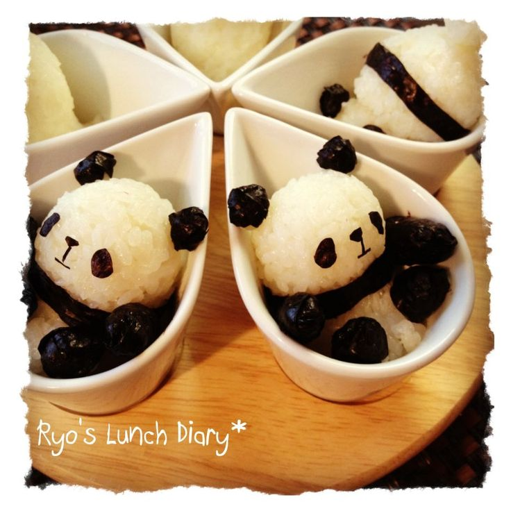 Panda in a cup onigiri. I couldn't eat them, they are too cute.