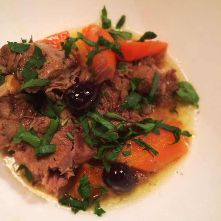 Lamb tagine with carrot, preserved lemon and olives