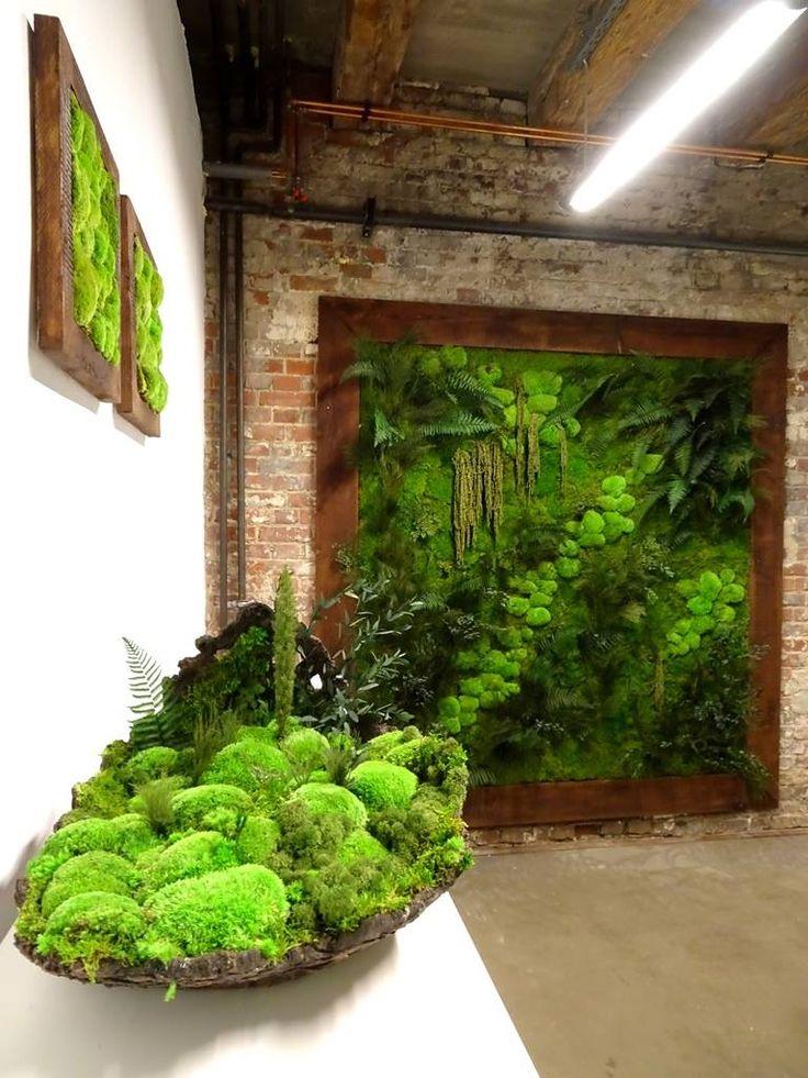 Przepiękny projekt w surowych murach, rośliny stabilizowane i mech. Projekt http://www.zielonesciany.pl