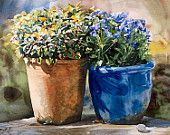 Flowerpots leaning towards eachother, Watercolour Giclée print