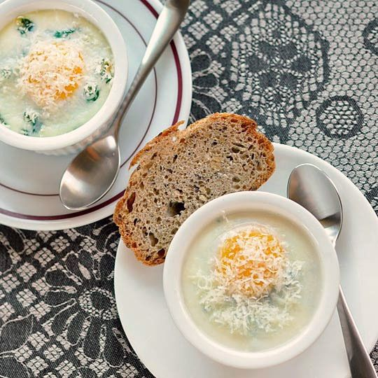 Baked Eggs with Creamy Polenta, Spinach, & Garlic