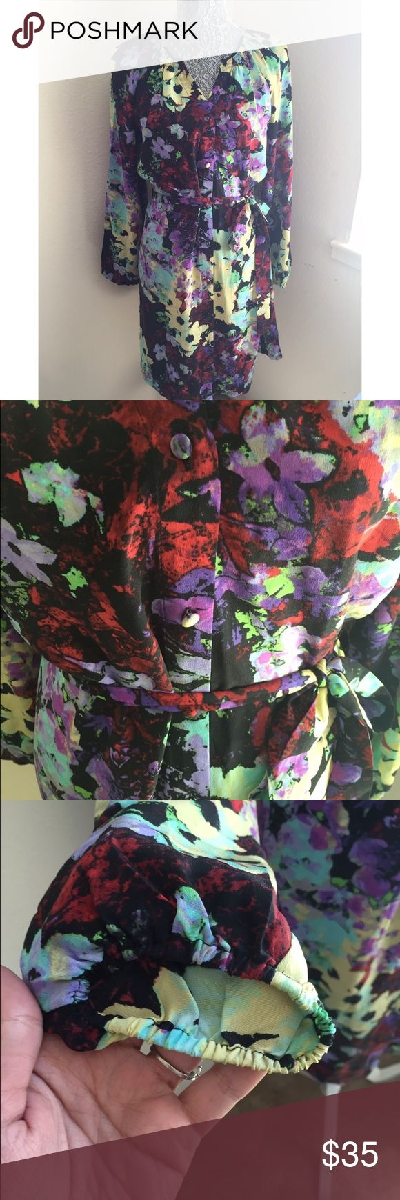 Charlie Jade long sleeve dress, sz small Gorgeous flowered print long sleeve Charlie jade dress. 100% silk. Has tie around the waist. Button up. charlie jade Dresses Midi