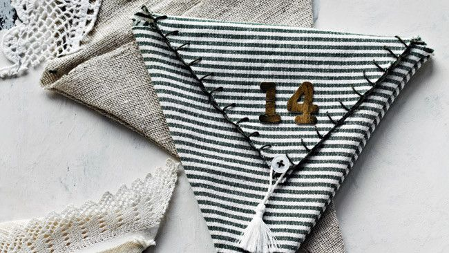 How to make advent calendar bunting, use any fabric you like and fill with fun surprises. Photo: Sharyn Cairns   Styling: Indianna Foord