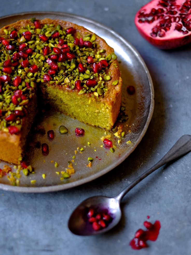 Pistachio and Pomegranate Cake — The Boy Who Bakes (add some chocolate chips to the top)