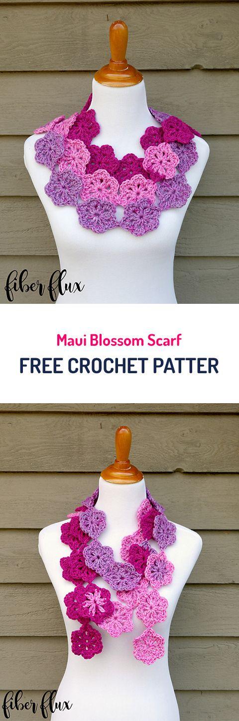 Maui Blossom Scarf Free Crochet Pattern #crochet #yarn #scraf #crafts #style #fashion