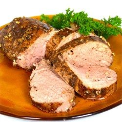Balsamic Roasted Pork Loin - Allrecipes Used 1/3 of a Pork loin, then cut in 1/2 lengthwise.  I used a nonMSG tenderizer.