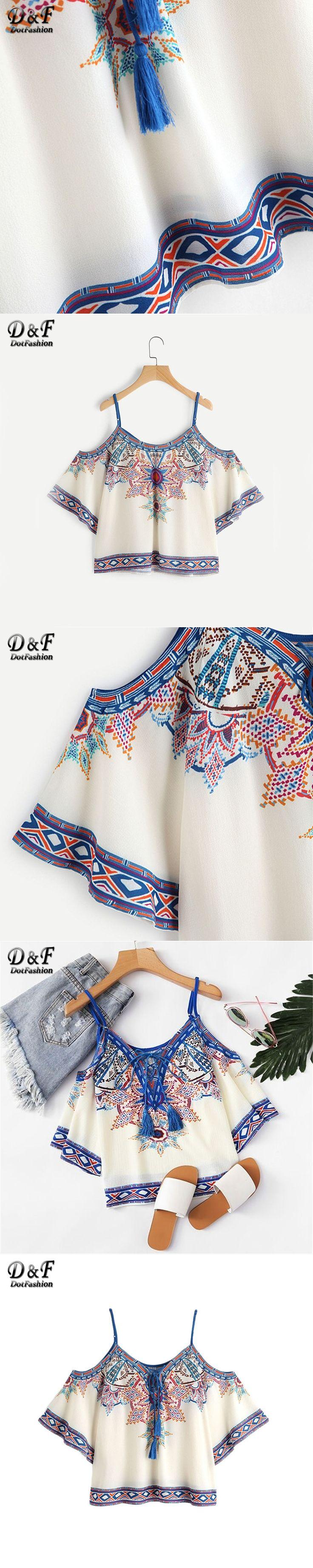 Dotfashion Aztec Print Boho Blouse 2017 Women Vintage Lace Up Cold Shoulder Summer Tops Fashion Sexy Tribal Short Sleeve Blouse