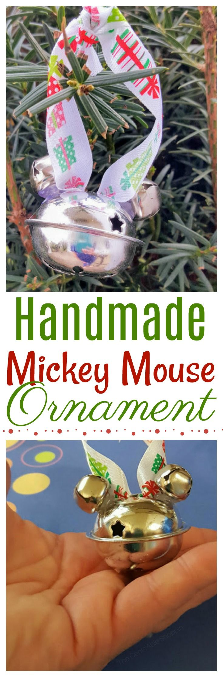 Christmas is near, and these Mickey Mouse Tree Ornaments are a super cute gift for the ultimate Minnie, or Mickey Mouse fan!   Whip up a dozen of these cute ornaments for less than $4!  #MickeyMouse #Christmas #Ornament #Craft
