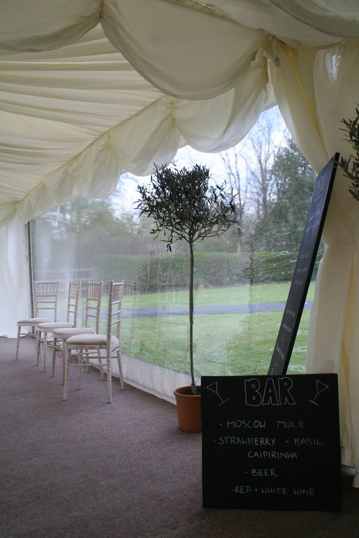 View from inside the marquee into the oriental canopy entrance.