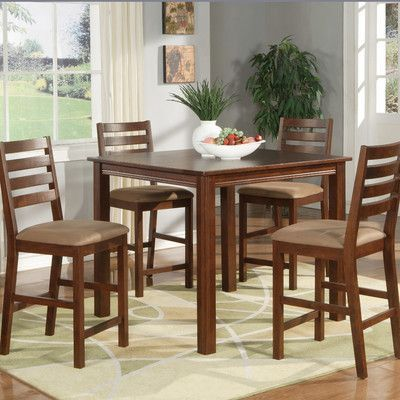 East West Furniture Cafe Espresso Dining Set With Square Counter Table