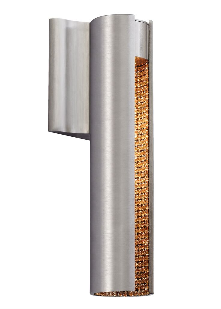 The dolly wall sconce light by lbl lighting has a slotted metal cylinder revealing an inner layer of brilliant rhinestones shown is the satin nickel