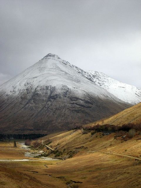Buchaille Etive Mor and the wee Road to Nowhere - which ends at the head of Loch Etive in Glencoe - Highlands, Scotland.  Wonderful place!