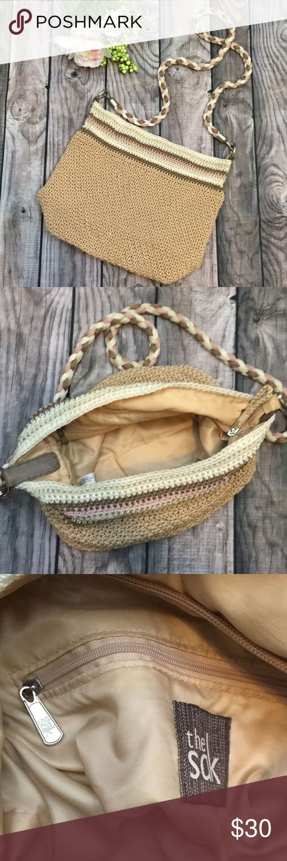 """THE SAK Neutral Tones Crocheted Shoulder Bag Great condition! Tan body with cream, brown, and blush stripe accents and braided shoulder strap.  14"""" long, 11"""" tall, 22"""" strap drop.  The top is zippered, and the hardware is silver tone. The Sak Bags Shoulder Bags"""
