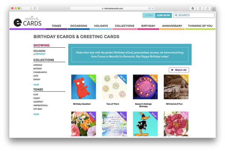 25 Favorite Sites for Sending Birthday E-Cards: Hallmark Birthday E-Cards