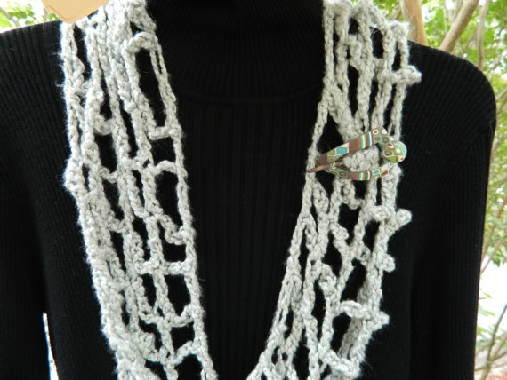 bamboo Scarf with Polymer Jewel by LisaCaldwellArnold on Etsy, $35.00