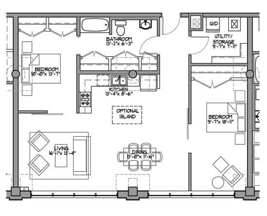 450 best images about small floor plans on pinterest for Two bedroom house plans with loft