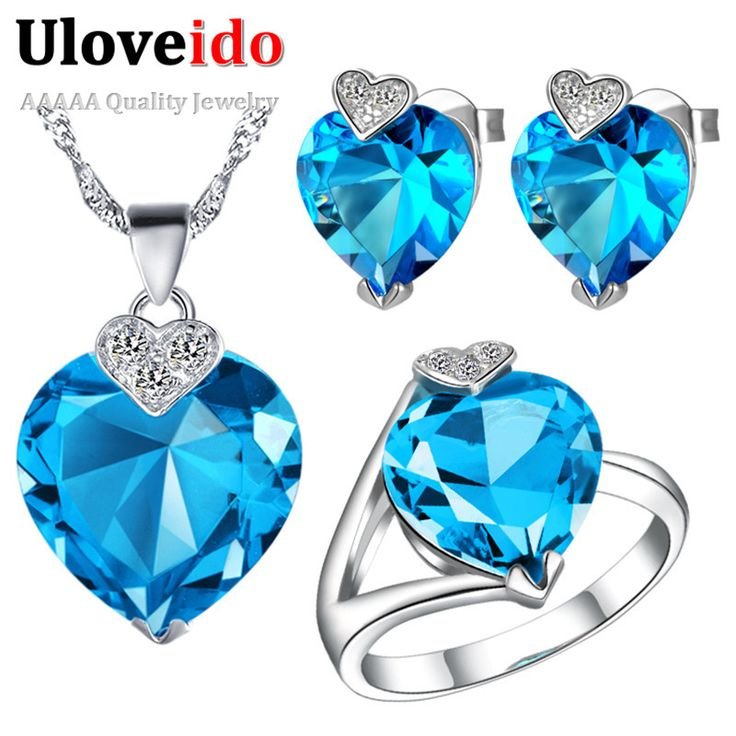Uloveido Heart Romantic Bridal Jewelry Sets Silver Plated Blue Jewelry Sets Necklaces & Pendants Rings Wedding Earrings T213