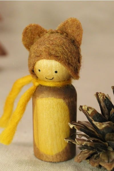 Cute little bear peg doll - hand-made by Lavender Chickadees.