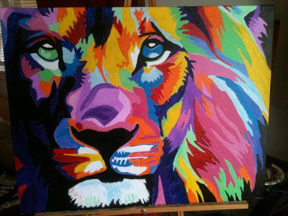 Modern Colorful Lion Of Judah Oil On Canvas Art