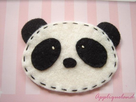 Set Of 4 pcs Handmade Felt Panda Black by Appliqueland on Etsy
