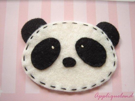 Juego de 4 PZ Panda de fieltro hecho a mano  negro
