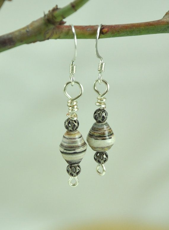 Gray striped wire wrapped paper bead earrings with pewter beads - paper bead jewelry on Etsy, $13.00