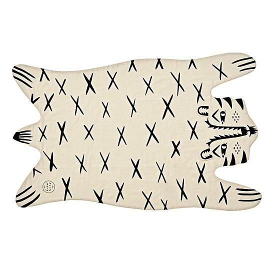 Shop Roxy Marj Tiger Blanket.  With a printed tiger on the front and a solid natural colored back, this reversible blanket is twice as stylish as your ordinary blanket.  Designed by Roxy Marj.