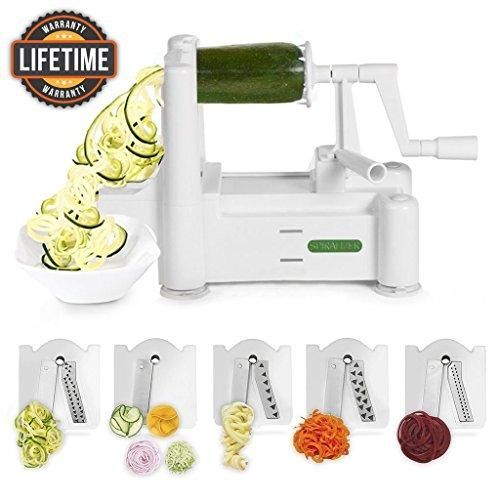Vegetable Slicer, Strongest-and-Heaviest Duty, Best Veggie Pasta & Spaghetti Maker for Low Carb/Paleo/Gluten-Free Meals, With 3 Exclusive Recipe eBooks