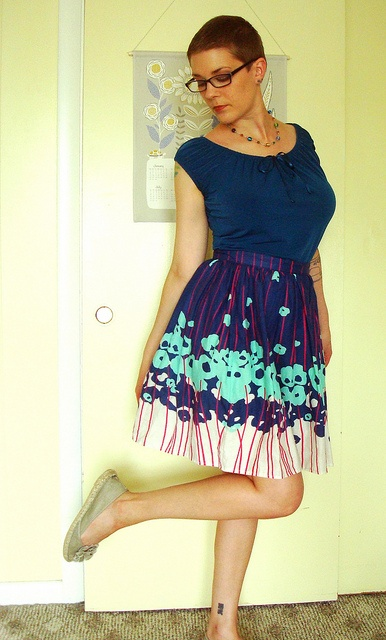 Betty skirt - border print; pattern drafted by me!