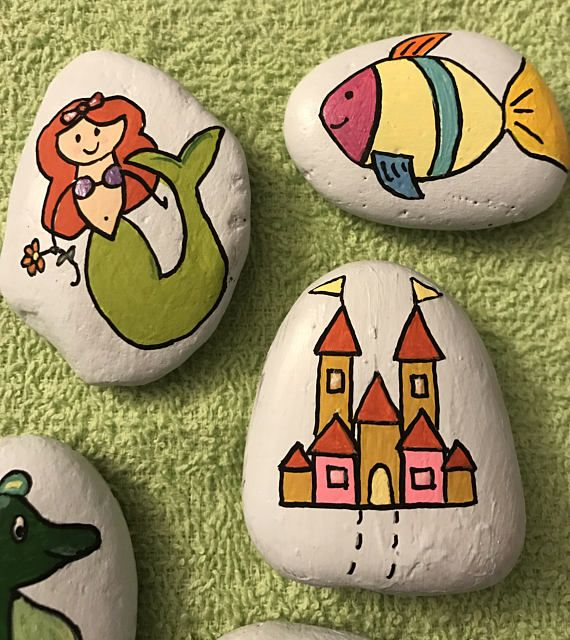 Kids love to use their imagination, which promotes thinking, creativity and speech. My story stones are painted rocks designed to fuel a childs imagination and creativity. They can use them to tell a story, pretend play, or carry around as pet rocks. For example, with these sea life fairytale stones: The mermaid is swimming to her castle. Seahorse and fish are following her. Merman is watching over the kingdom with crab, and starfish is looking for seashells. The story possibilities are…