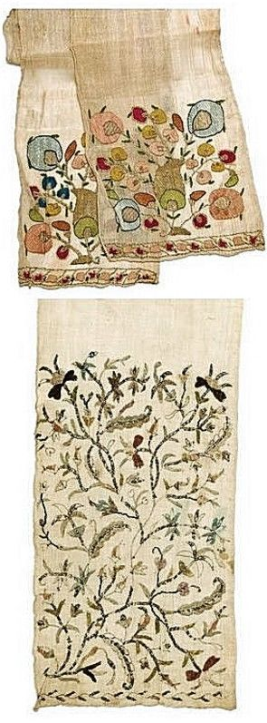 Two silk sash (waist band) for women. Originating from Jewish families in Greece.  Late-Ottoman era & style, 18th or 19th century.  With embroidered ends: floral motifs, done in metal thread and multi-coloured silk.  The embroideries are 'two-sided' (front and rear being identical).   (© The Jewish Museum of Greece, Athens).
