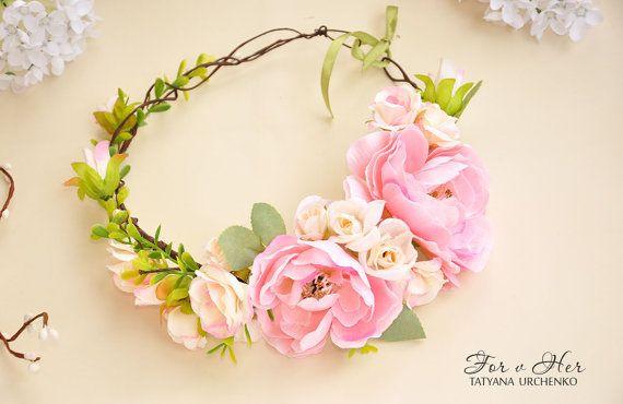 Floral crown Pink flower crown pink wedding peony Bridal flower crown pink peony crown Hair Garland Wedding crown flower hair wreath girl