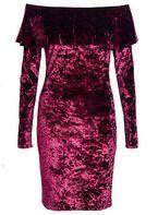 Womens *Quiz Velvet Bodycon Dress- Berry