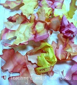 Water Color Leaves - a particularly good activity for the 2 & 3 yr old set! But where to get leaf shaped tissue paper?