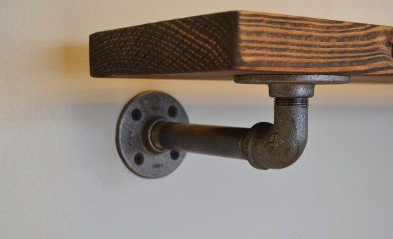 """Rustic Industrial Pipe Shelf 48"""", Shelf with Piping, Floating Shelf, Rustic Shelf, Rustic Home Decor, Custom Shelf"""