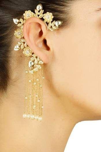 Gold-finish-kundan-stone-earcuff-with-chain-danglers