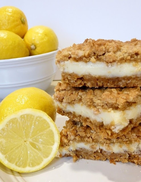 Oatmeal lemon bars w/only 5 ingredients! Yum!