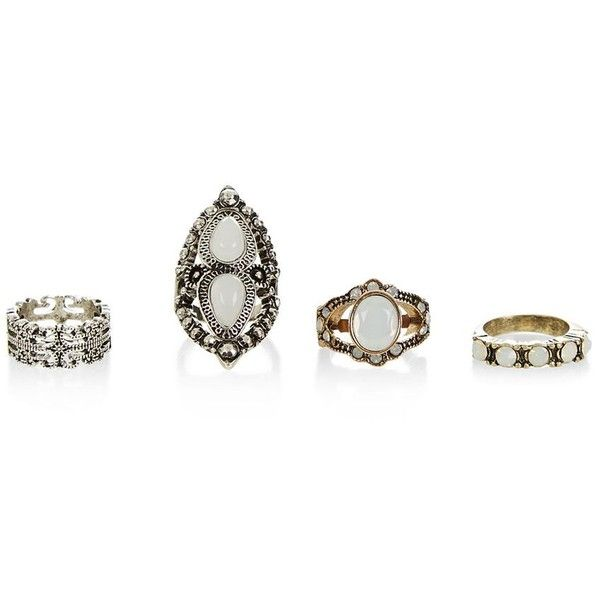 Gold and Silver 4 Pack Assorted Rings found on Polyvore