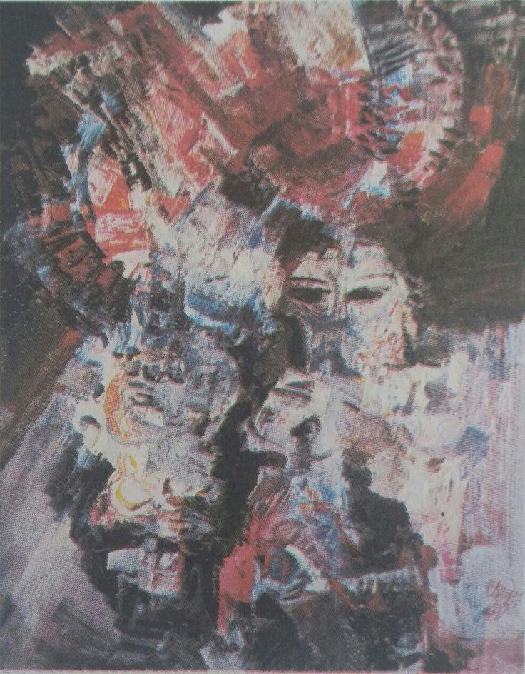 Şadan Bezeyiş: Müzik, (1969). Tuval uzerine yagliboya. 60×75 cm. Ozel koleksiyon
