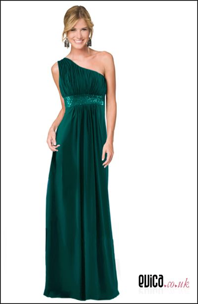 One shoulder full length teal bridesmaid evening dress gown