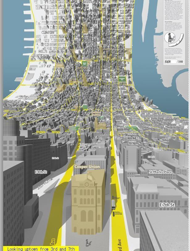 정보시각화 아틀리에 :: Here & There : 지평선이 없는 3차원 맨하탄 지도