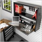 The gladiator fold-away workstation.  Perfect for our tiny garage!
